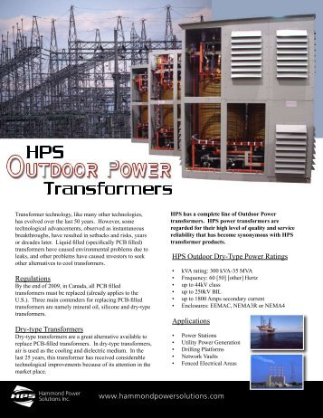 HPS Power Transformer Brochure - Hammond Power Solutions