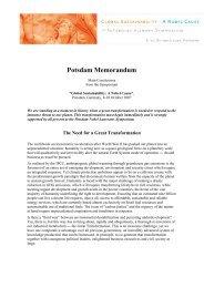 Potsdam Memorandum - Nobel Cause Symposium