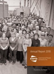 Hammond Power Solutions | Annual Report 2010