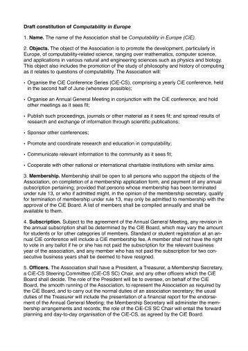 Draft constitution of Computability in Europe 1. Name. The name of ...