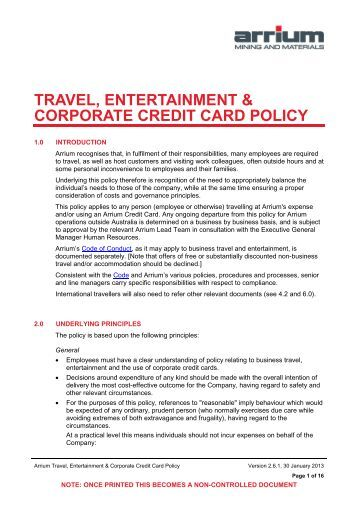 company travel policy template - corporate credit card policy template 28 images