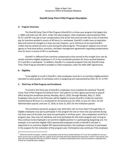 over40 comp time ii pilot program - Employee Relations