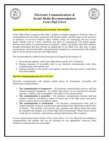 Electronic Communications & Social Media Recommendations