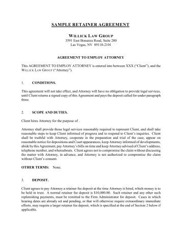 Retainer Agreement  Sample  This Agreement For Legal
