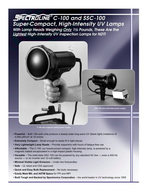 C-100 and SSC-100 Super-Compact, High-Intensity UV Lamps