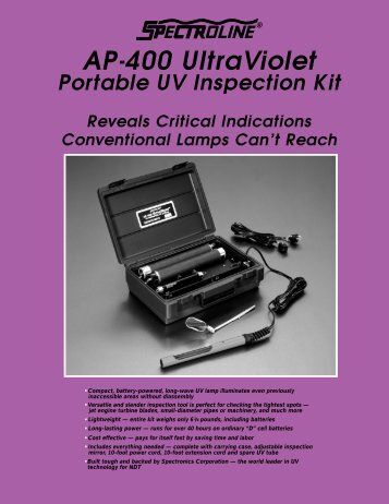 AP-400 UltraViolet - Radiatronics NDT Inc.