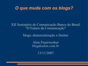 O Futuro da - Blog do Alon
