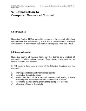 9. Introduction to Computer Numerical Control