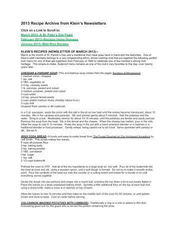 2013 Recipe Archive from Klein's Newsletters