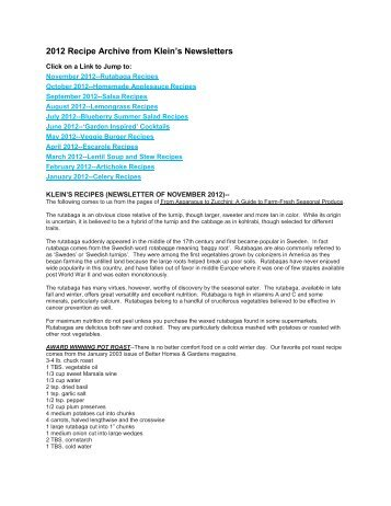 2012 Recipe Archive from Klein's Newsletters