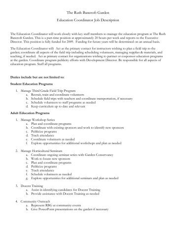 education services coordinator job description bright beginnings