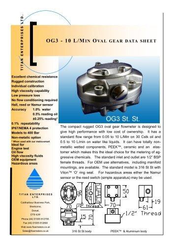 OG3 - 10 L/MIN OVAL GEAR DATA SHEET - Titan Enterprises