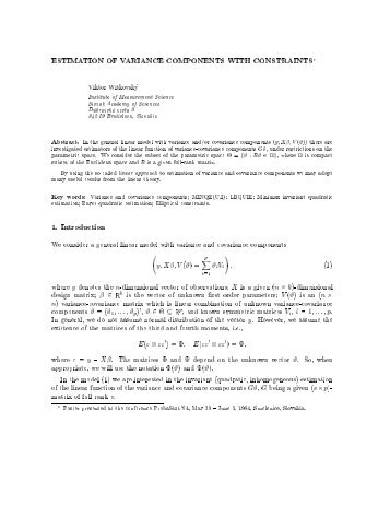 ESTIMATION OF VARIANCE COMPONENTS WITH CONSTRAINTS ...