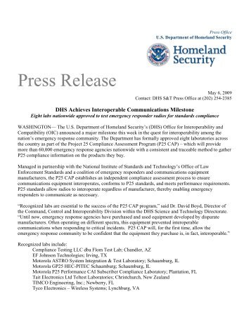 DHS Achieves Interoperable Communications Milestone - Federal ...