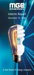 MGE Energy Interim Report - December 2006