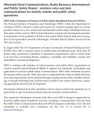 NIST Seeks Comment on Features of Public-Safety ... - PSCR