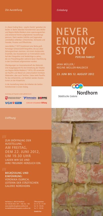 Einladung NEVER ENDING STORY - Städtische Galerie Nordhorn