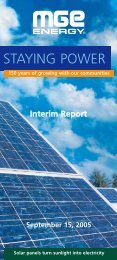 Interim Report - September 15, 2005 - MGE Energy
