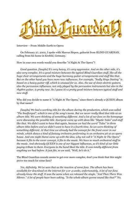 Blind Guardian: From Middle-Earth to Opera