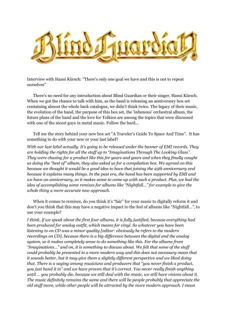 Blind Guardian: Interview with Hansi