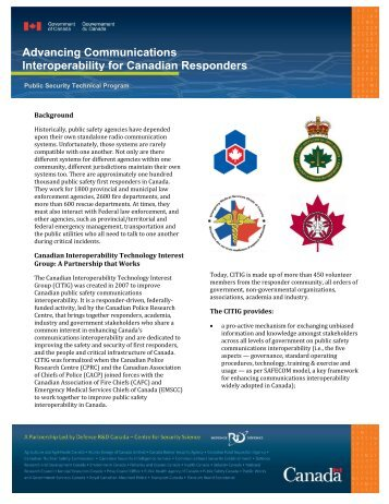 Advancing Communications Interoperability for Canadian ... - Citig