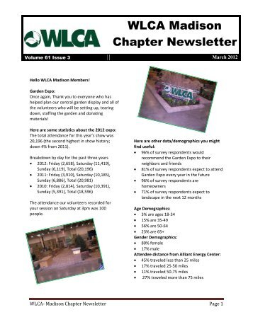 WLCA Madison Chapter Newsletter - Wisconsin Landscape ...