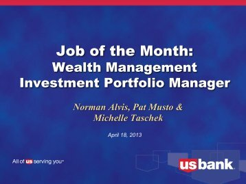 Wealth Management Investment Portfolio Manager - US Bank