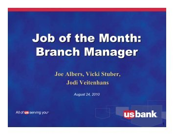 Branch Manager - US Bank