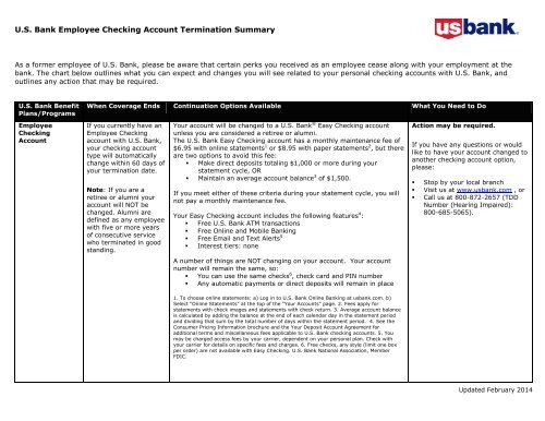 Employee Checking Account Summary - US Bank