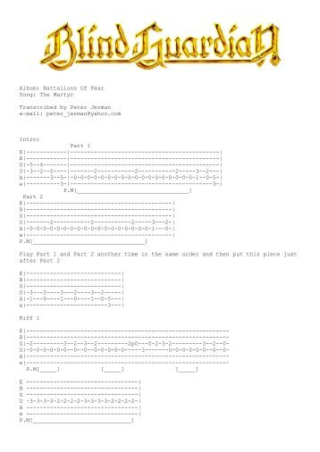 Album: Battalions Of Fear Song: The Martyr Transcribed by Peter ...