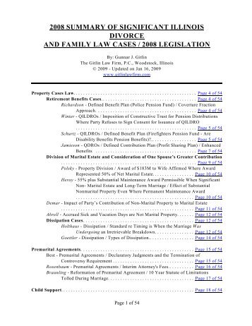 2008 Summary Of Significant Illinois Divorce And Family Law Cases