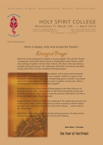 Liturgical Prayer Liturgical Prayer - Holy Spirit College