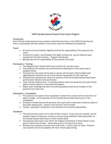 2009 Canada Games Personal Club Coach Program - Swim Ontario