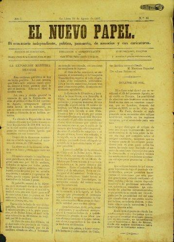 El Nuevo Papel del 10 de agosto de 1887