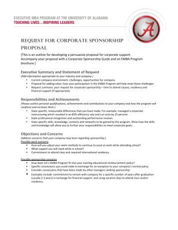 Corporate sponsor form template
