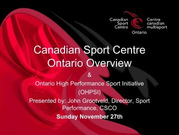 Canadian Sport Centre Ontario Overview - Swim Ontario