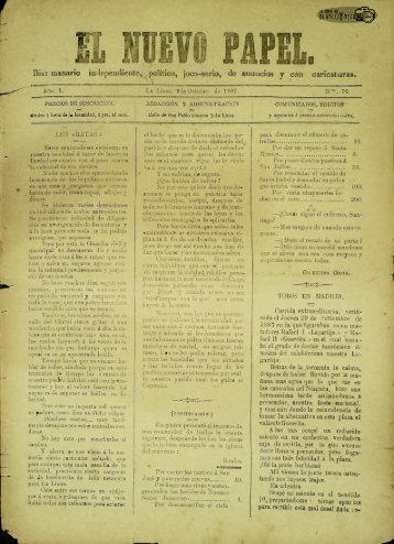 El Nuevo Papel del 09 de octubre de 1887