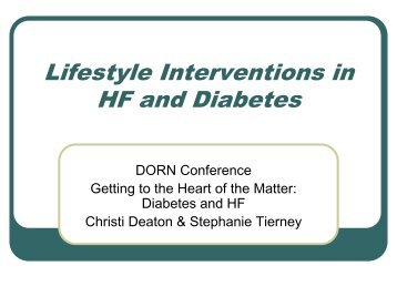 Lifestyle Interventions in HF and Diabetes