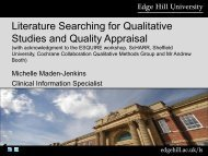 Literature Searching for Qualitative Studies and Quality Appraisal