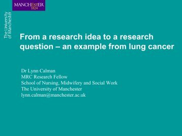 From a research idea to a research question - The University of ...