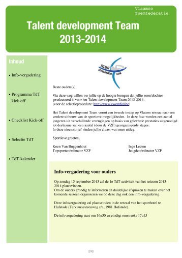 TdT-oproepbrief seizoen 2013-2014-1 - Vlaamse Zwemfederatie