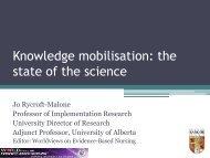 Knowledge mobilisation - Institute of Health Sciences