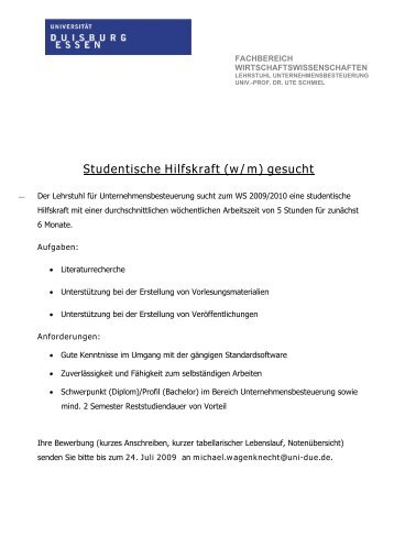 Studentische Hilfskraft (w/m) gesucht - Lehrstuhl für ...