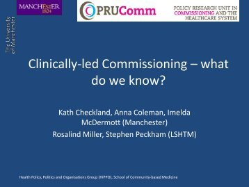 Clinically-led Commissioning – what do we know?