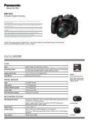 Panasonic DMC-GH3 Spec Sheet - Creative Video