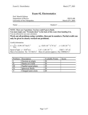 Worksheets Electrostatics Worksheet physics worksheet electrostatics electric fields and potential exam 2 unh nuclear particle group