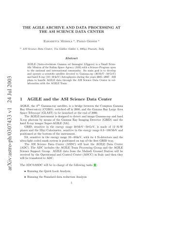arXiv:astro-ph/0307433 v1 24 Jul 2003 - AGILE - Cnr