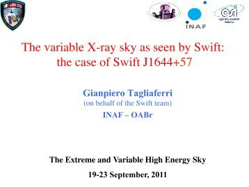 The variable X-ray sky as seen by Swift: the case ... - INAF-IASF-Roma