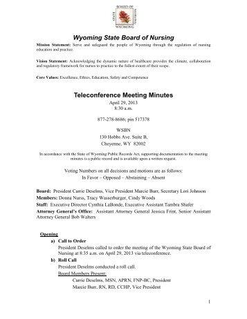 April 29, 2013 Teleconference Meeting Minutes April 29, 2013