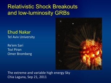 Relativistic Shock Breakouts and low-luminosity ... - INAF-IASF-Roma
